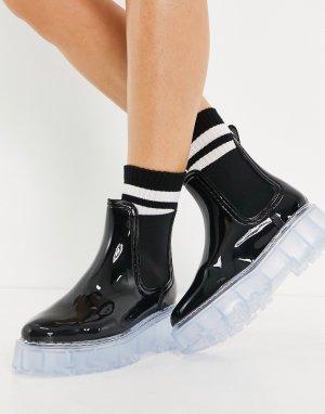Черные резиновые ботинки челси на массивной прозрачной подошве Gadget-Черный цвет ASOS DESIGN