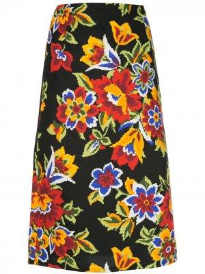 Юбка-карандаш с цветочным принтом Carolina Herrera. Цвет: черный