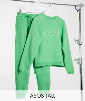Спортивный костюм зеленого цвета из свитшота с вышивкой «be kind» и джоггеров прямого кроя ASOS DESIGN Tall-Зеленый Tall