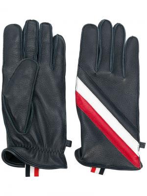 Перчатки с фирменной полоской Thom Browne. Цвет: синий