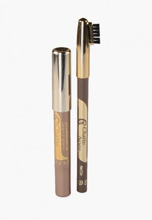 Набор для макияжа бровей Chatte Noire Карандаш + Карандаш-тени №102, 2,85. Цвет: коричневый