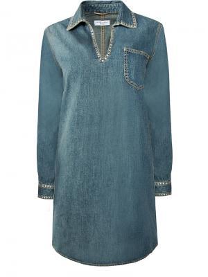 Джинсовое платье-туника SAINT LAURENT. Цвет: разноцветный