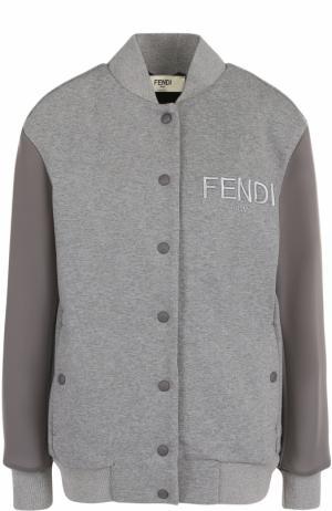 Однотонный хлопковый бомбер с логотипом бренда Fendi. Цвет: серый