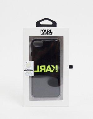 Черный чехол для iphone 8 с логотипом Karl Lagerfeld