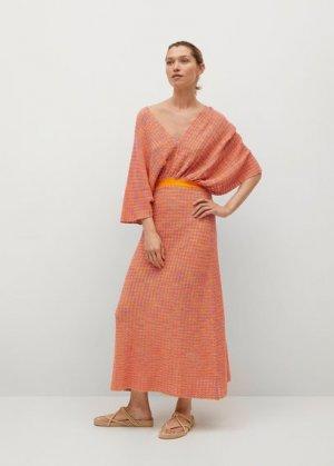 Комбинированное вязаное платье с вырезом - Fairy Mango. Цвет: оранжевый