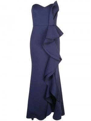 Длинное платье с оборками Badgley Mischka. Цвет: синий