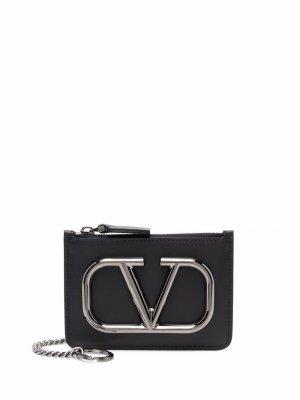 Кошелек для монет с логотипом VLogo Signature Valentino Garavani. Цвет: черный