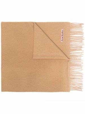 Logo patch cashmere scarf Acne Studios. Цвет: нейтральные цвета