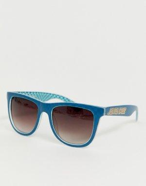 Синие солнцезащитные очки Santa Cruz. Цвет: синий