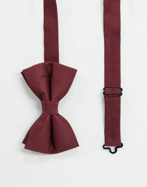 Атласный бордовый галстук-бабочка -Красный ASOS DESIGN