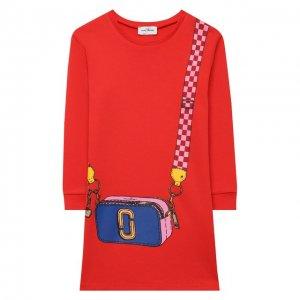 Хлопковое платье MARC JACOBS (THE). Цвет: красный