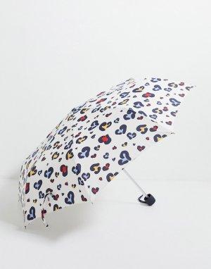 Зонт со звериным принтом в виде сердечек -Многоцветный Fulton