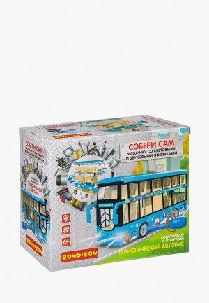 Конструктор Bondibon с отверткой, Собирай и Играй «Туристический автобус», голубой. Цвет: разноцветный