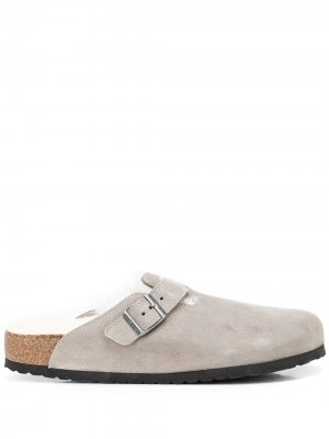 Boston shearling-lined sandals Birkenstock. Цвет: stone coin