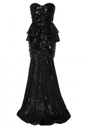 Асимметричное коктейльное платье с пайетками Attico. Цвет: черный