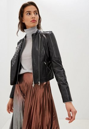 Куртка кожаная Patrizia Pepe. Цвет: черный