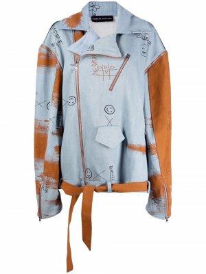 Oversized denim biker jacket Barbara Bologna. Цвет: синий