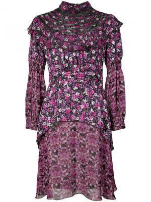 Платье с высоким воротом Incense and Joy из шифона Anna Sui. Цвет: розовый