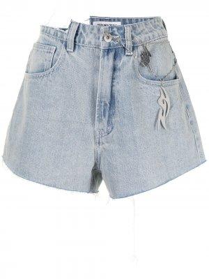 Джинсовые шорты с эффектом потертости и завышенной талией Ground Zero. Цвет: синий