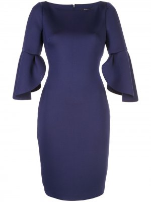 Платье с баской на рукавах Badgley Mischka. Цвет: синий