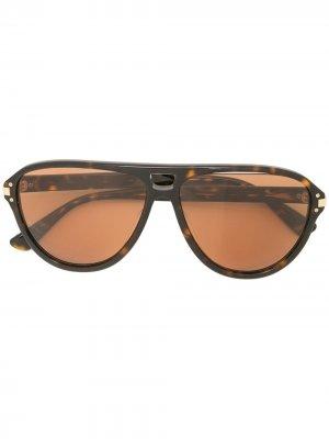 Солнцезащитные очки-авиаторы с логотипом AMIRI. Цвет: коричневый