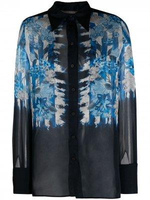 Блузка со вставками и узором Alberta Ferretti. Цвет: синий