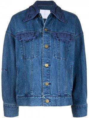 Джинсовая куртка с вышивкой Mame Kurogouchi. Цвет: синий
