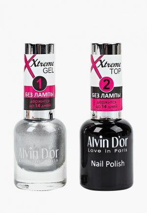 Набор гель-лаков Alvin Dor D'or Гель Xtreme extreme (Лак+Top) 2х15мл.5232 тон MIX 32. Цвет: прозрачный