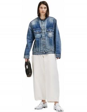 Синяя джинсовая куртка без воротника Maison Margiela