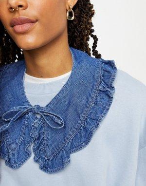 Синий джинсовый воротник на завязках с оборками из органического хлопка Miso-Голубой Monki