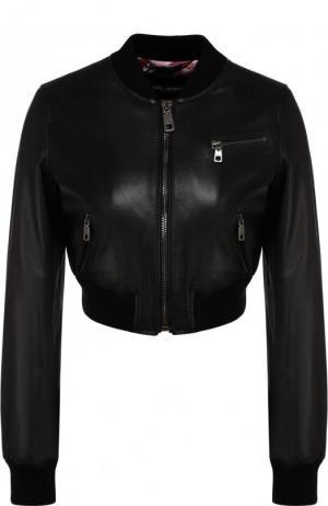 Укороченный кожаный бомбер на молнии Dolce & Gabbana. Цвет: черный
