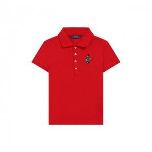 Хлопковое поло Polo Ralph Lauren. Цвет: красный