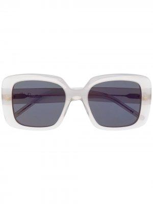 Солнцезащитные очки в прозрачной массивной оправе Pomellato Eyewear. Цвет: серый