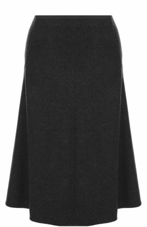 Кашемировая юбка-миди с карманами Loro Piana. Цвет: темно-серый