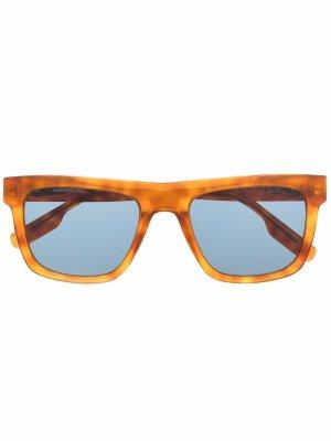 Солнцезащитные очки в квадратной оправе Montblanc. Цвет: коричневый