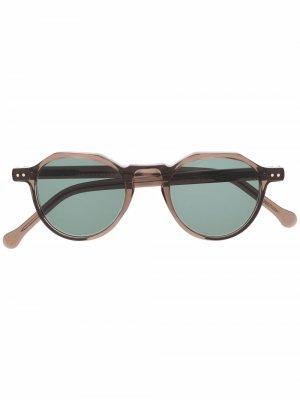 Солнцезащитные очки Icon 36 в круглой оправе Lesca. Цвет: коричневый