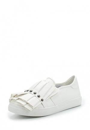 Слипоны LOST INK SARA RUFFLE AND STUD SLIP ON TRAINER. Цвет: белый