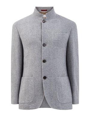 Куртка в стиле пиджака из шерстяного твида и кашемира BRUNELLO CUCINELLI. Цвет: серый
