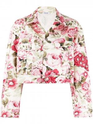 Укороченная джинсовая куртка с цветочным принтом P.A.R.O.S.H.. Цвет: нейтральные цвета