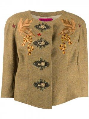 Жакет без воротника с вышивкой на груди Christian Lacroix Pre-Owned. Цвет: нейтральные цвета