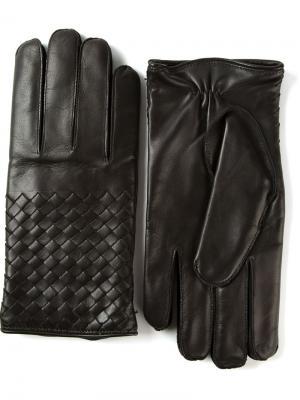 Плетеные перчатки Bottega Veneta. Цвет: чёрный