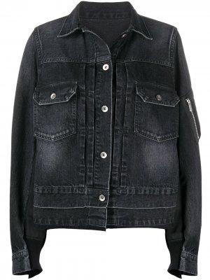 Джинсовая куртка со вставками Sacai. Цвет: черный