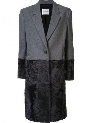 Пальто длины миди на пуговицах Emanuel Ungaro. Цвет: серый