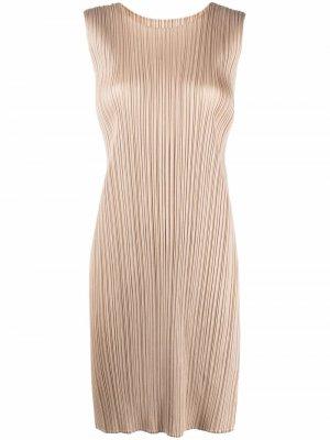 Платье-трапеция без рукавов Pleats Please Issey Miyake. Цвет: нейтральные цвета