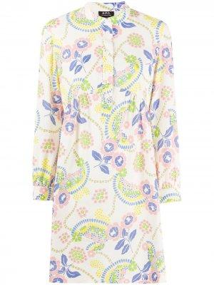 Платье-трапеция с цветочным принтом A.P.C.. Цвет: нейтральные цвета