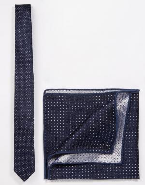 Галстук и платок для пиджака Minimum. Цвет: синий