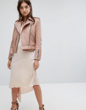 Кожаная байкерская куртка розового цвета AllSaints. Цвет: розовый