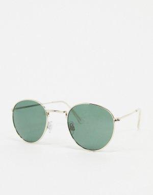 Круглые солнцезащитные очки -Золотой Jack & Jones