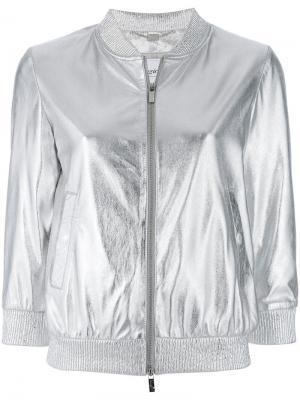 Куртка-бомбер с отделкой металлик Blugirl. Цвет: металлический