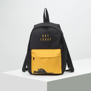 Рюкзак молодёжный, отдел на молнии, наружный карман, цвет чёрный/оранжевый NAZAMOK